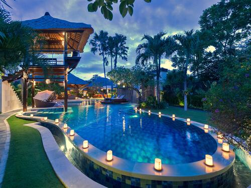 Bali Villa Pool at night